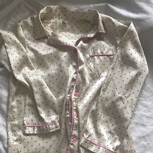 Other - Silky pajama button down polka dot top Small